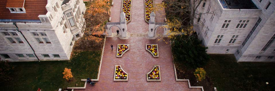 An aerial view of the Sample Gates on the IU Bloomington campus